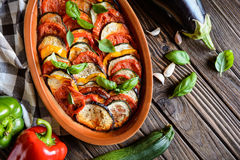 Vegetable Ratatouille. Traditional French Ratatouille with herbs stock photography
