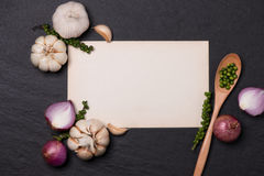 Vegetable recipe. Open menu book with fresh herbs and spices on. Dark background Stock Images
