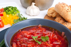 Vegetable red-beet soup Stock Photo
