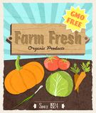 Vegetable retro poster Royalty Free Stock Images