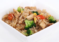 Vegetable rice bowl. On white background royalty free stock photo