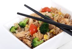 Vegetable rice bowl. On white background royalty free stock image