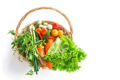 vegetable ripe in basket isolate on white Royalty Free Stock Photo