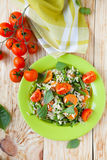 Vegetable risotto with basil leaves, top view Royalty Free Stock Images
