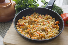 Vegetable risotto in a large pan Royalty Free Stock Photo
