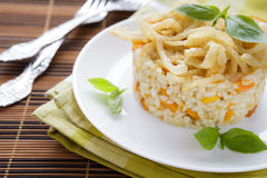 Vegetable risotto with onion and basil. Closeup Royalty Free Stock Photos