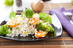 Vegetable risotto on a square plate Stock Image