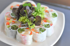Vegetable roll or fresh spring roll Royalty Free Stock Photography