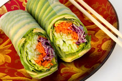 Vegetable rolls. With chopsticks Stock Photos