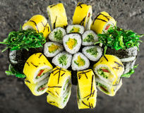 Vegetable rolls and chuka gunkan Stock Photography