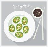 Vegetable rolls. Flat lay, vector illustration Stock Image