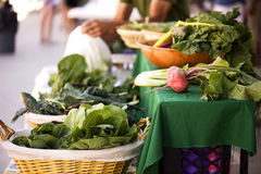 Vegetable's for sale. Fresh vegetables sit on a table at a local farmers market Royalty Free Stock Photos