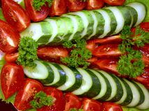 Vegetable salad 1. Of tomatoes, cucumbers and parsley royalty free stock photography