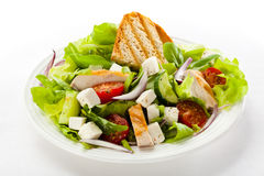 Vegetable salad. With roasted chicken meat and white cheese Stock Photo