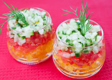 Vegetable salad. In a glass Stock Image