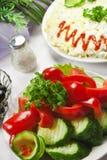 Vegetable salad. Fresh vegetable salad on a wedding table Stock Photography