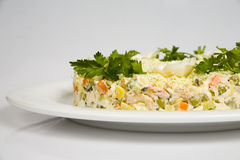 Vegetable salad. With mayonnaise on a plate Stock Photo