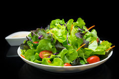 Vegetable salad bar. Chopping vegetable on white dish and black background royalty free stock image