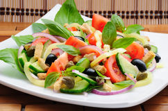 Vegetable salad with basil Stock Images
