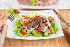 Vegetable salad with beef meat and hands with fork Stock Image