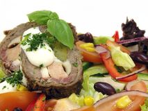 Vegetable salad with beef roll Royalty Free Stock Photo