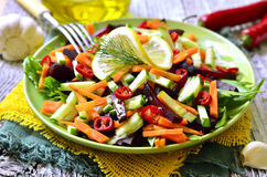 Vegetable salad with beetroot,cucumber and carrot. Stock Photo