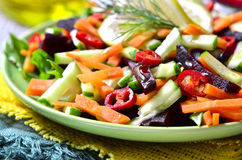 Vegetable salad with beetroot,cucumber and carrot. Stock Photography