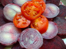Vegetable Salad. Beetroot, onion and tomato salad Royalty Free Stock Image