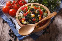 Vegetable salad with black beans and ingredients table. Horizont Stock Photo