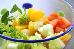 Vegetable salad in bowl: cucumber, tomato and celery Royalty Free Stock Images