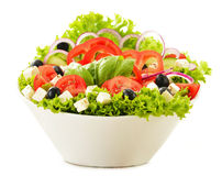 Vegetable salad bowl isolated on white Stock Photos