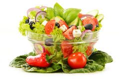 Vegetable salad bowl isolated on white Stock Photography