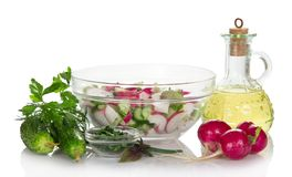 Vegetable salad in bowl and jug Royalty Free Stock Image