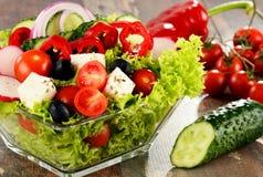 Vegetable salad bowl on kitchen table. Balanced diet Stock Image