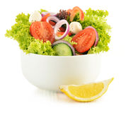 Vegetable salad bowl on white Royalty Free Stock Photography