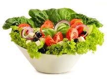 Vegetable salad bowl on white Stock Photography