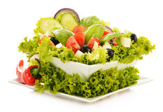 Vegetable salad bowl on white Stock Photography