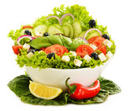 Vegetable salad bowl on white Stock Photos