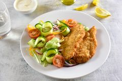 Vegetable salad and breaded chicken breast royalty free stock photography