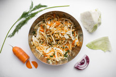 Vegetable salad of cabbage, carrots and apples Royalty Free Stock Image