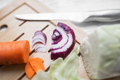 Vegetable salad of cabbage, carrots and apples Stock Image