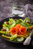 Vegetable salad with carrot, cucumber, pepper, almond and chick- Stock Photos