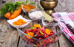 Vegetable salad with carrots, beets, cabbage and onions Stock Photo