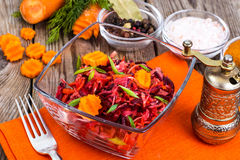 Vegetable salad with carrots, beets, cabbage and onions Royalty Free Stock Photos