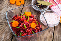 Vegetable salad with carrots, beets, cabbage and onions Stock Photos