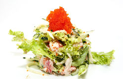 Vegetable salad and caviar Royalty Free Stock Photos