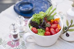 Vegetable salad in a ceramic plate. Lunch in the open air. Healthy food. Copy space stock photo