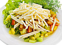 Vegetable salad with cheese Stock Photography