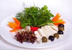 Vegetable salad with cheese Royalty Free Stock Images
