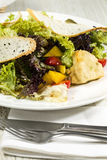 Vegetable salad and cheese. Salad vegetables and goat cheese Plate, Refreshment Royalty Free Stock Photography
